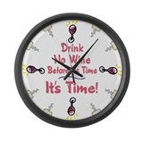 Time to Drink Wine Large Wall Clock