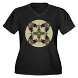 Black Bear Mandala Women's Plus Size V-Neck Dark T