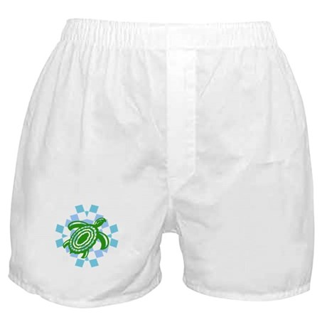 Green Cutout Turtle Boxer Shorts