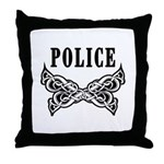 Police Tattoo Throw Pillow