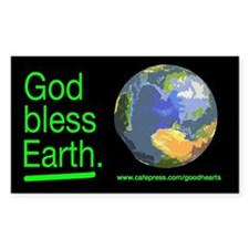 God Bless Earth Rectangle Decal