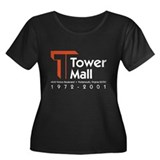 Tower Mall Women's Plus Size Scoop Neck Dark T-Shi