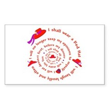 Red Hat swirly Rectangle Decal