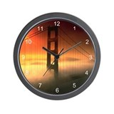 Fog Shrouded Golden Gate Wall Clock