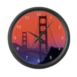 Golden Gate Sunset Large Wall Clock