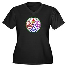York Rite Women's Plus Size V-Neck Dark T-Shirt