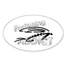 Fly Fishing Addict Oval Sticker (50 pk)
