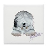 Cute Sheepdog Tile Coaster