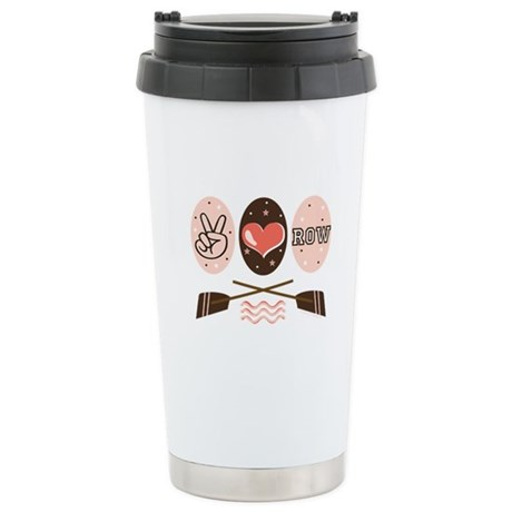 Peace Love Row Crew Ceramic Travel Mug