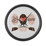 Peace Love Row Crew Large Wall Clock