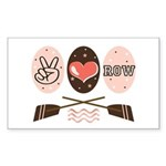 Peace Love Row Crew Rectangle Sticker