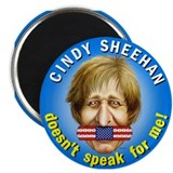 "Cindy Sheehan doesn't speak f 2.25"" Magnet (100 pa"