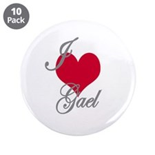 "I love (heart) Gael 3.5"" Button (10 pack)"