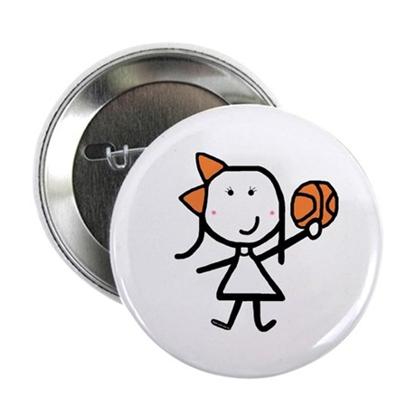 "Girl & Basketball 2.25"" Button (10 pack)"