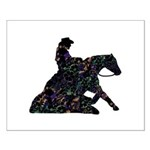 Reining Horse Sliding Stop Flowers Small Poster
