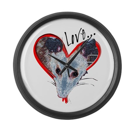 Possum Love Large Wall Clock