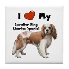 I Love My Cavalier Tile Coaster