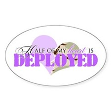 Half of my heart is deployed Oval Decal