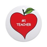 Heart Apple #1 Teacher Ornament (Round)