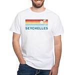 Retro Palm Tree Seychelles White T-Shirt