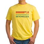 Retro Palm Tree Seychelles Yellow T-Shirt