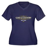 God & Country: McCain Women's Plus Size V-Neck Dar