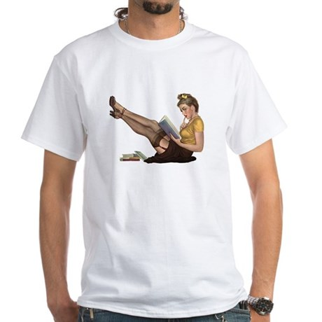 Librarian Girl White T-Shirt