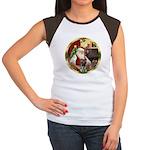 Santa's German Shepherd #12 Women's Cap Sleeve T-S