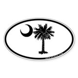 Palmetto Black Oval Sticker (10 pk)