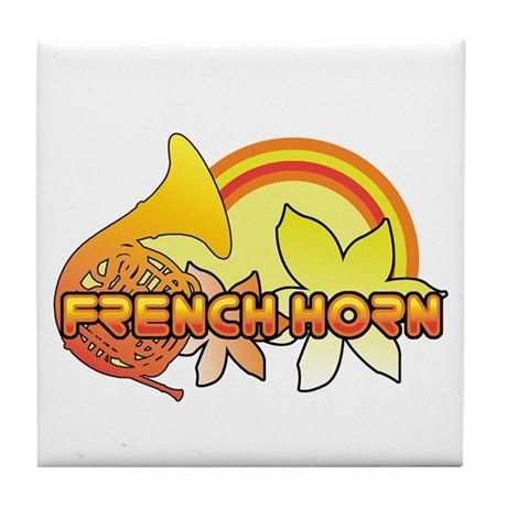 Retro French Horn Tile Coaster
