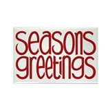 Seasons Greetings Red Rectangle Magnet (100 pack)