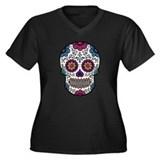 Sugar Skull Women's Plus Size V-Neck Dark T-Shirt
