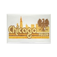 Chicago Polish Skyline Rectangle Magnet
