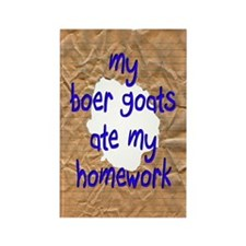 Boer Goats Ate My Homework Rectangle Magnet (100 p