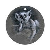 "Ring-tailed lemur infant ""Elfin"" Ornament (Round)"