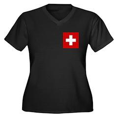 Swiss Cross-1 Women's Plus Size V-Neck Dark T-Shir
