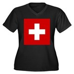 Swiss Cross-1 Women's Plus Size V-Neck Dark T-Shir