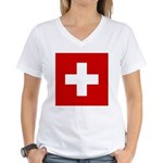 Swiss Cross-1 Women's V-Neck T-Shirt