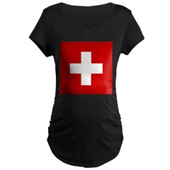 Swiss Cross-1 Maternity Dark T-Shirt