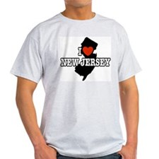 I Love New Jersey Ash Grey T-Shirt