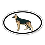 German Shepherd Euro Oval Sticker in Color