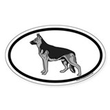 German Shepherd Euro Oval Bumper Stickers