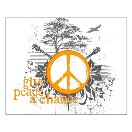 Give Peace Scene- Orange Small Poster