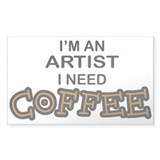 Artist Need Coffee Rectangle Decal