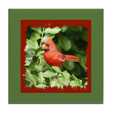 Beautiful Cardinal Red Bird Tile Coaster