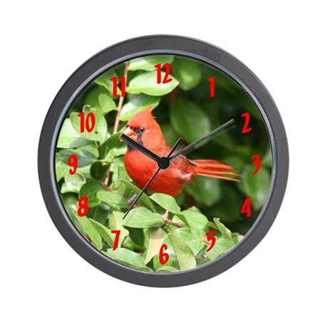 Beautiful Cardinal Red Bird Wall Clock