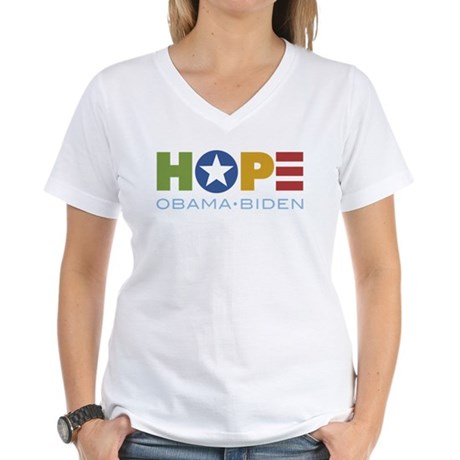 HOPE Obama Biden Women's V-Neck T-Shirt