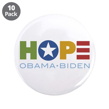 "HOPE Obama Biden 3.5"" Button (10 pack)"