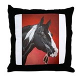 black native american horse Throw Pillow