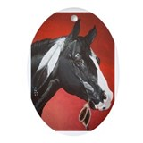black native american horse Oval Ornament
